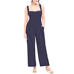 Gal Meets Glam Navy Nicole Square Neck Jumpsuit